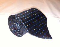 Tommy Hilfiger Mens Necktie Tie Black Blue Red Yellow Geometric 100% Silk USA