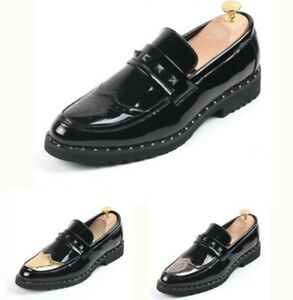 Mens Slip On Loafers Carving Rivet Patent Leather Casual Leisure Brogues Shoes