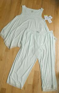 "NWT Pip Vine Rosie Pope 2-pc sleepwear top/pant set mint green lace S 22"" inseam"