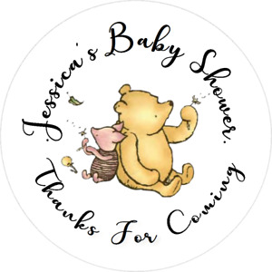 WINNIE THE POOH BABY SHOWER CUSTOM ROUND LABELS PARTY STICKERS FAVORS CLASSIC Zz