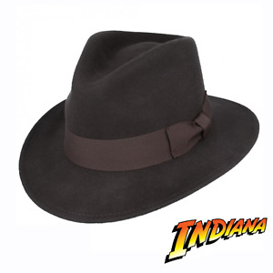 Indiana Jones Style 100% Wool Felt Fedora Brown Hat Crushable Water Repellent