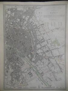 RARE Eastern  Paris City Map (1852) France, French, George Cox, Part Colour SDUK