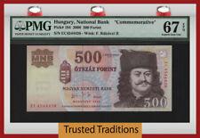 TT PK 194 2006 HUNGARY 500 FORINT RAKOCZI COMMEMORATIVE PMG 67 EPQ TIED AS BEST!