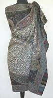 Large Kani Jamawar Wool Shawl Black & Ivory Stole Intricate Paisley Jamavar