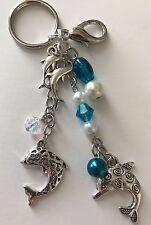Dolphin Trio Purse Charm Key Chain FOB silver/aqua handmade USA 138