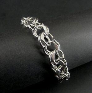 Vintage Double Link Signed ER Sterling Silver Charm Bracelet