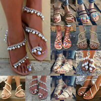 Ladies Flat Flip Flop Sandals Rhinestone Flower Slide Gladiator Slippers Shoes