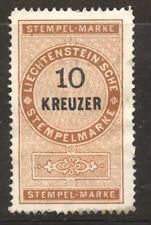 Liechtenstein 1879 Revenue 10 Kreuzer mint nol gum