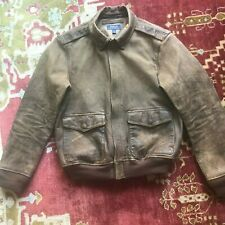 Polo Ralph Lauren Distressed Leather Flight Bomber Jacket 1930's Standard Issue
