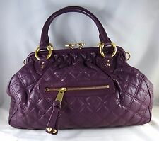 NWT MARC JACOBS Stam Dimond Quilted Italian Leather Brass Cross Body~AUBERGINE