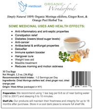 Simply Natural 100% Organic Moringa Oleifera Ginger Root Orange Peel Herbal Tea