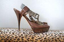 OSCAR DE LA RENTA Brown & Silver Braided Strappy Heels Shoes Sz 38 US 8 EUC