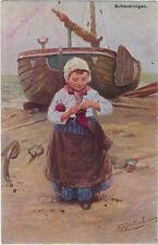 CHILDREN : Dutch Girl knitting - J G GERSTENHAUER-MORKS & GEUZE-