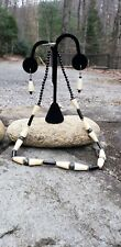 Bone Bead Necklace / Earrings Black Coral and Vintage African Bovine