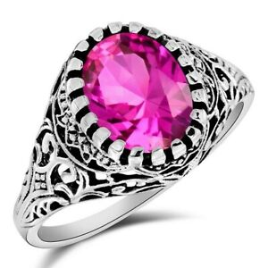 2CT Pink Sapphire 925 Solid Sterling Silver Victorian Style Jewelry Sz 7 OF4