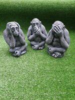 Set di 3 TESCHI ~ Pietra Da Giardino Ornamenti TESCHI Vedere non sentire alcun e parlare alcun male