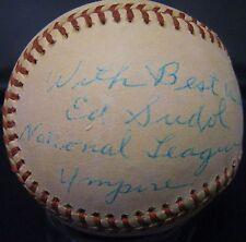+VARY RARE+ Ed Sudol d.04 NL Umpire Future HOF'er Autographed baseball PSA/DNA