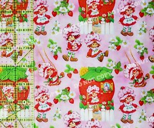 Custom 100% Cotton Woven Fabric Strawberry Shortcake 80s Cartoon 1/4 Yard 9x56