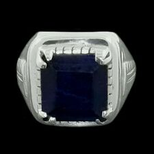 NATURAL SAPPHIRE HANDMADE Solid 925 Sterling Silver Men Ring