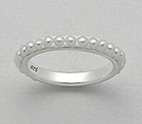 Solid Sterling Silver Classic Seed Pearl Eternity Wedding Band Ring 3mm size 9