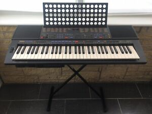 Yamaha PSR 600 Keyboard Floppy Disc *RARE* Power Supply, Stand, Bag, Pedal Japan
