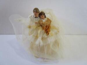 Vintage Ceramic Tulle Satin Lace Bride Groom Wedding Cake Topper