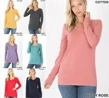 BASIC COTTON V-NECK LONG SLEEVE Womens T Shirt Casual Layering Top Tight Fitted