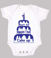1st birthday cake smash outfit boy funny  Babygrow all in one Top  12/18 Months