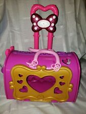 Disney Minnie Mouse Pull Suitcase Purse Luggage storage Pink Handle Wheels