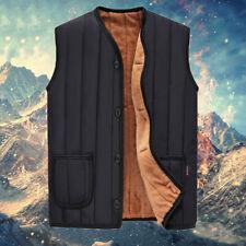 Winter Men's Quilted Vest Cotton Padded Fleece Lined Waistcoat Sleeveless Jacket