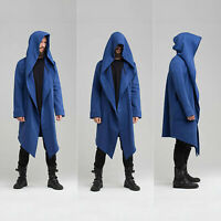 Men Hooded Coat Cloak Jacket Adult Fashion Long Sleeve Casual Solid Cardigan