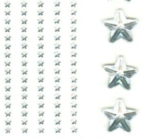 Adhesive Stick on Diamante Gem Rhinestone clear STARS 8mm Wide x Sheet of 80