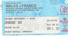 Le Pays de Galles v france 25 sep 1996 BILLETS de rugby à Cardiff