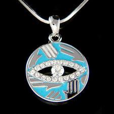 w Swarovski Crystal ~Hamsa Hand~ Fatima Evil Eye Turquoise Circle Charm Necklace