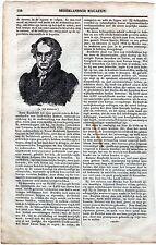 Oud artikel : Alexander von Humboldt / Nederlandsch magazijn 1836 / print