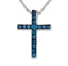 Blue Diamond Cross 10K White Gold Blue Diamond Cross Pendant .15ct Petite Size