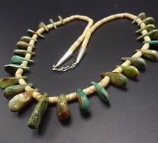 Vintage NAVAJO TURQUOISE & Shell Heish Beads NECKLACE Single Strand