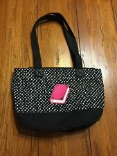 THIRTY-ONE ORGANIZING UTILITY CANVAS TOTE BAG BOOK..BLACK WHITE PINK.TEACHER..