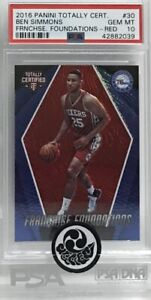 2017 NBA Panini Totally Certified Ben Simmons F. F. Red no.178/199 Rookie PSA 10