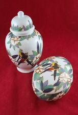 Porcelain Lidded Trinket Box & Lidded Ginger Jar * parrots *