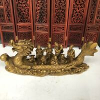 30cm decor Chinese feng shui golden brass 8 immortals on Dragon Ship Boat statue