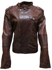 Ladies Women's BRANDO Style Fashion Biker Soft Brown Leather Rock Jacket