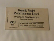 Usps Domestic Vended Postal Insurance Record Booklet Mint Unused