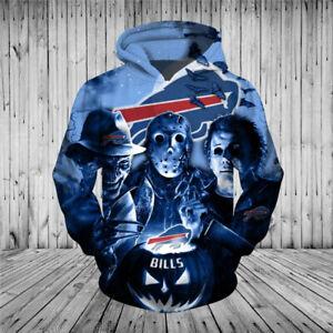 Buffalo Bills Halloween Hoodie Jason Freddy Pullover Hooded Sweatshirt 3D Jacket