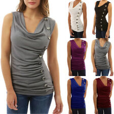 UK Womens Summer Blouse Ladies Vest Top Sleeveless Casual Tank T-Shirt Tops 6-20