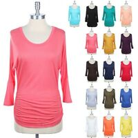 Women's Solid Top 3/4 Sleeve Round Neck Relaxed Casual Rayon S M L 1XL 2XL 3XL