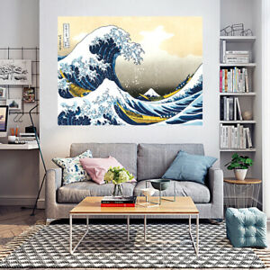 "Poster Japanese Japan Hokusai Katsushika Ukiyo-e The Great Wave off  46"" x 32"""