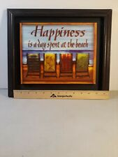 "Wooden Sign ""Happiness is a Day Spent at the Beach"" 10.5""x8.5"""