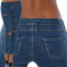 Damen Jeans Hose Skinny Hüftjeans Hüfthose Röhre Röhrenjeans Stretch Destroyed