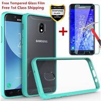 For Samsung Galaxy J3 V 2018/Orbit/Star/Express/Prime 3 Clear Hard Case+Glass